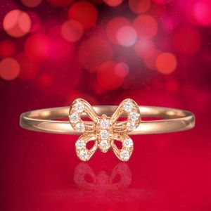 Dainty Gold Crystal Butterfly Ring